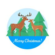 Merry Christmas Vector Concept in Flat Design Stock Illustration