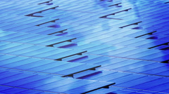 Top view Solar cell panel Pattern with clouds reflection Stock Footage