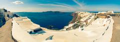 Santorini - The panorama of Oia and the Therasia Stock Photos