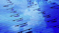 Top view Solar cell panel Pattern with clouds Stock Footage