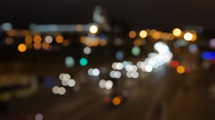 Blur background. Moving bokeh circles of night traffic. Defocused night traffic Stock Footage