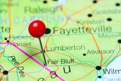 Fair Bluff pinned on a map of North Carolina, USA Stock Photos