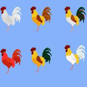 Rooster. Cock. Vector set of rooster, different color for new year 2017 greet Stock Illustration