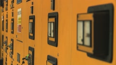 Vintage Control panel in old hydropower plant rack focus Stock Footage