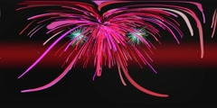 Red Fireworks VR 360 4K Background Equirectangular Footage Stock Footage