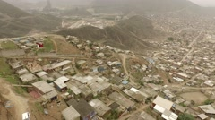 Flying over Shanty Town in Lima, Peru. South America. Stock Footage