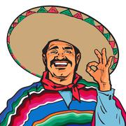 Smiling Mexican man in sombrero and poncho showing okey sign Stock Illustration