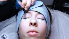 Makeup Artist Attaches False Eyelashes Beauty Salon Procedure Stock Footage