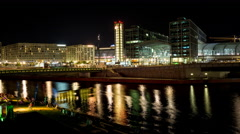 Berlin Main Station night time lapse Stock Footage