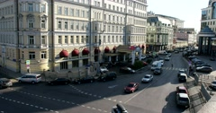 The view from the bridge, the building of the hotel Baltschug Kempinski Stock Footage