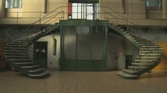Old liberty syle hydropower plant interior tilt Stock Footage