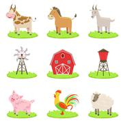 Farm Associated Animals And Objects Set Stock Illustration