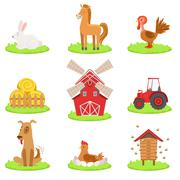 Farm Associated Animals And Objects Collection Stock Illustration