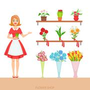 Female Florist In The Flower Shop Demonstrating The Assortment Stock Illustration