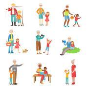 Grandparents And Kids Spending Time Together Set Of Illustrations Stock Illustration