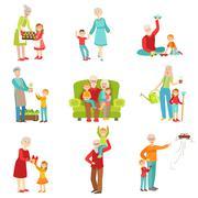 Grandparents And Kids Having Fun Together Set Of Illustrations Stock Illustration