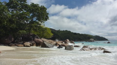 Tropical landscape of the coast of Anse Lazio, Prasin island, Seychelles Stock Footage