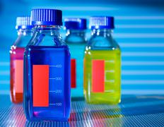 Bottle with chemical additives Stock Photos