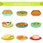 Indian Food Famous Dishes Illustration Set Stock Illustration