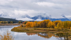 Time lapse of Oxbow Bend in Autumn Stock Footage