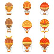 Vintage Hot Air Balloons Set Stock Illustration