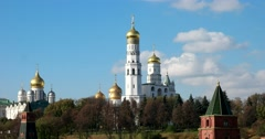 The cathedrals of the Moscow Kremlin, view from the bridge Stock Footage