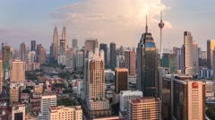4K Day to night time-lapse of Kuala Lumpur cityscape Stock Footage