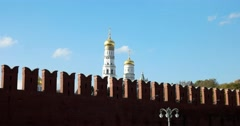 The upper tier of the Ivan the Great Bell tower, Kremlin wall Stock Footage