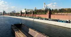 The route of the barge lies along the embankment of the Kremlin Stock Footage