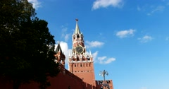 Spasskaya tower, architectural ensemble of the Moscow Kremlin. The Eastern wall Stock Footage