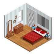 Bedroom Isometric Design Stock Illustration