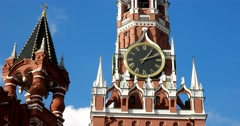 The clock on the Spasskaya tower of Moscow Kremlin chimes Stock Footage