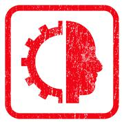 Cyborg Gear Icon Rubber Stamp Stock Illustration