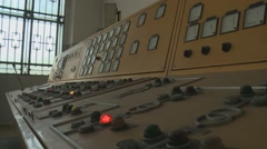 Vintage control panel in old hydropower plant Stock Footage