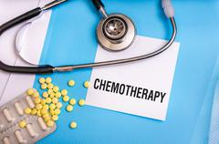 Chemotherapy word written on medical blue folder with patient files, pills an Stock Photos