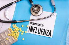 Influenza word written on medical blue folder with patient files, pills and s Kuvituskuvat