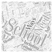 Preparing for School word cloud concept Stock Illustration