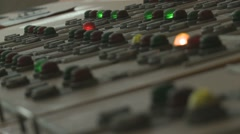 Rack focus close up of a vintage control panel in old hydropower plant Stock Footage
