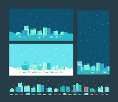 Format card for congratulation with Christmas letter. Winter city Stock Illustration