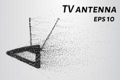 TV antenna of the particles. TV antenna crumbles to pieces. The antenna consi Stock Illustration