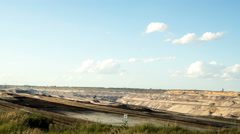 Tagebau Garzweiler: strip mining lignite panning time lapse Stock Footage