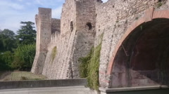 Roman bridge over Mincio river, Italy Stock Footage