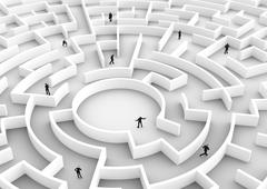 Business people competition - finding a solution of the maze., one winner. Stock Illustration