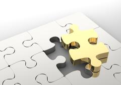 Last golden puzzle piece to complete a jigsaw. . Concept of business solution Stock Illustration