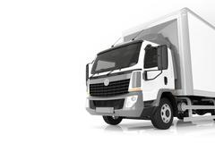 Commercial cargo delivery truck with blank white trailer. Isolated, generic,  Piirros