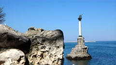 Monument to flooded ships in the port of Sevastopol Russian Navy. Crimea. Stock Footage