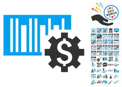Barcode Price Setup Icon With 2017 Year Bonus Symbols Stock Illustration