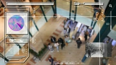 High Tech - Security Scan - Mall - Shopping Centre - Analysis - white - HD Stock Footage