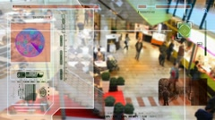 High Tech - people walking - Shopping Centre - Restaurant Stock Footage