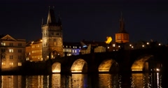 The Charles Bridge with tourists walking, birds flying, Stock Footage